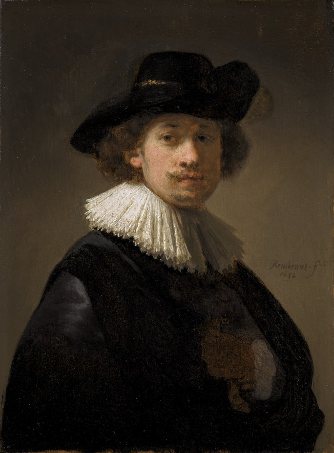 Self-portrait of Rembrandt dressed in a period shirt.